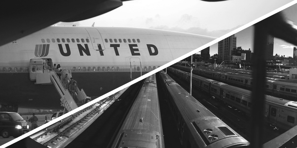United Airlines and Trains