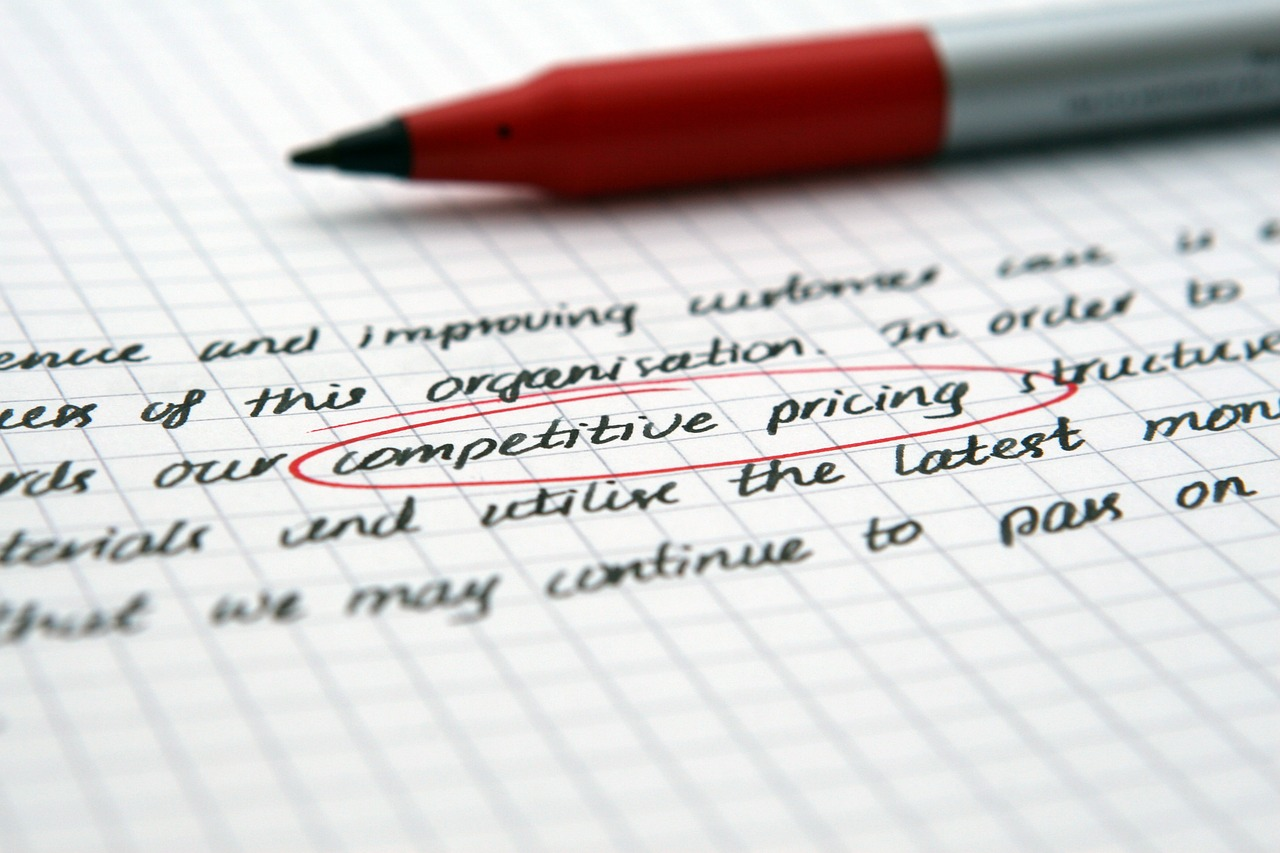 image of text with the words competitive pricing circled in red