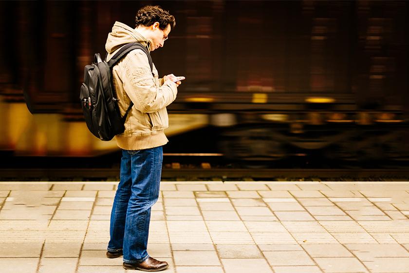 commuter on phone