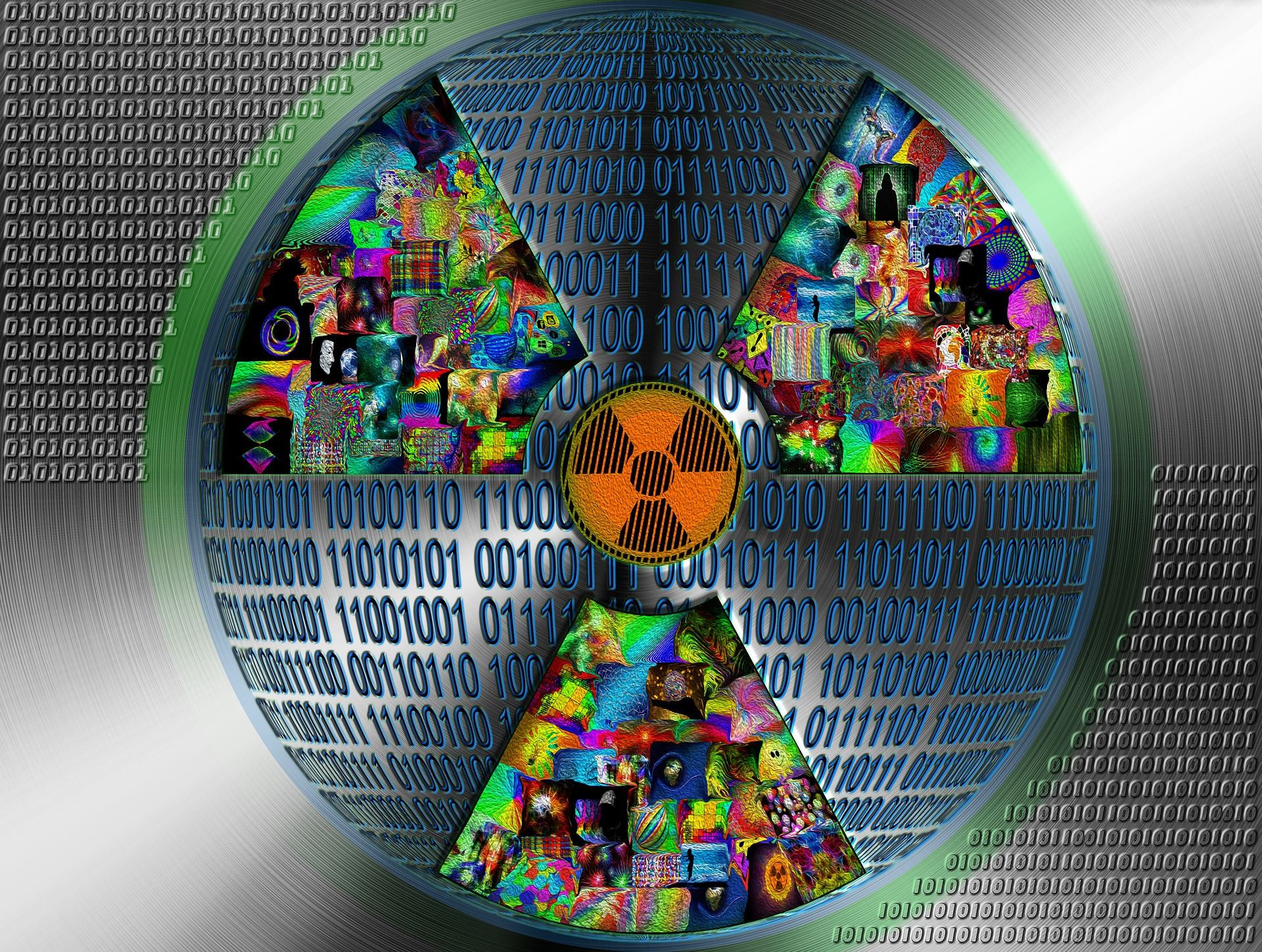 Nuclear symbol with binary code and random images