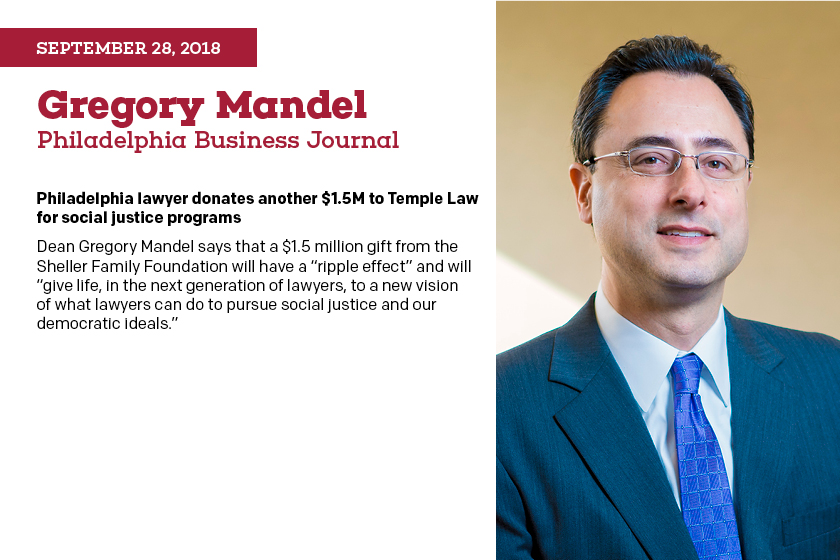 Philadelphia Lawyer Donates Another 1 5m To Temple Law For Social Justice Programs Voices At Temple