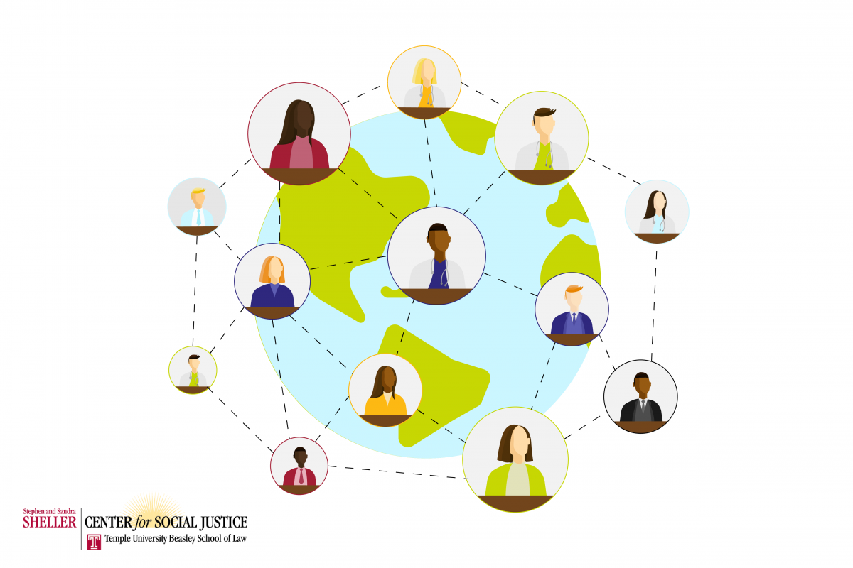 Graphic of a globe with interconnected bubbles with cartoons of various people and practitioners to exemplify World Health Day